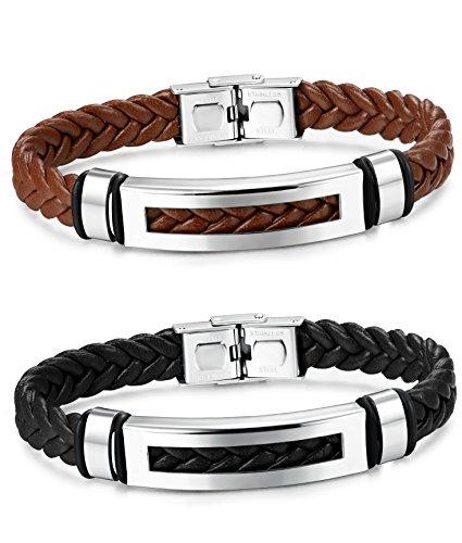 Sailimue 2Pcs Leder Charme Männer Armband für Herren Geflochtene Armbänder 20.5CM (Schwarz-leder-armband-charme)