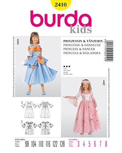 Burda 2410 Schnittmuster Kostüm Fasching Karneval Prinzessin Tänzerin (kids, Gr. 98 - 128) Level 3 (Tänzerin Deutsche Kostüm)