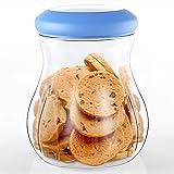 Tritan Kunststoff Twist Lock Frischhaltedose, Snack Aufbewahrungsbox Vorratsdosen zu Behälter Lebensmittel, Formel, Nüsse, Getränke, Körnerbehälter, BPA-Frei, Luftdicht, Auslaufsicher (0,66 L, Blau)