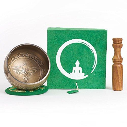 Cuenco tibetano hecho a mano en Nepal – 200g – 8cm – 5 metales – badajo de palisandro con cuero – caja de papel Lokta artesanal – gravados en Nepālī – para meditacion budista y terapia del sonido