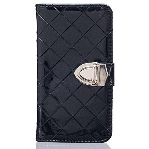 Samsung Galaxy G360 G530 Case,mode, Gitterförmige Muster Glatte Oberfläche Design Folio Pu Ledergeldbeutel Fall Decken Mit Stehen / Card Slot Für Samsung Galaxy G360 G530 ( Color : White , Size : Sams Black