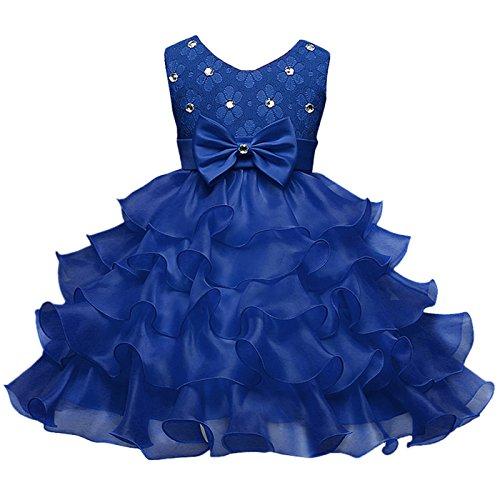 HAPPY CHERRY Mädchen Kleid Baumwoll Prinzessin Kleid Mit Schleife Kind Ärmellos Festzugkleid...