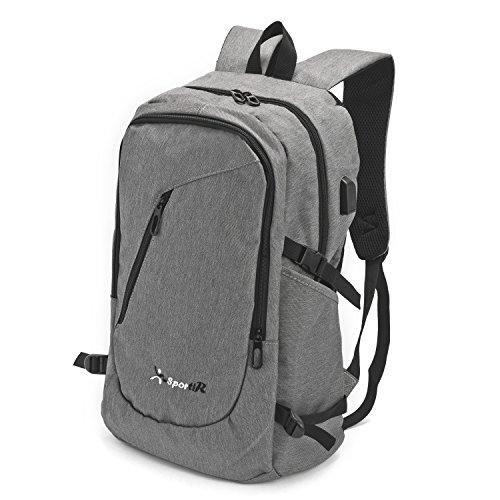 Preisvergleich Produktbild SportiR Business Laptop Rucksack Laptoprucksack mit USB-Ladestelle für iPod , iPhone etc. Wasserdichte Notebookhülle – passend für 17-Inch Laptops - auch für Arbeit - Reisen – Schule – Wandern - Grau