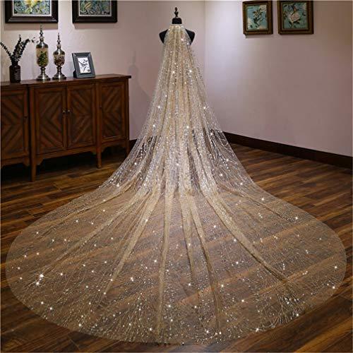 DROHE-Q Brautschleier Retro Sternenlicht Leuchtenden Extra Lang Nachlaufen Heiraten Luxuriös Hochzeitskleid Kopfbedeckung Champagner