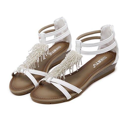 Ommda con Cinturino Alla Caviglia Donna White Long Beads