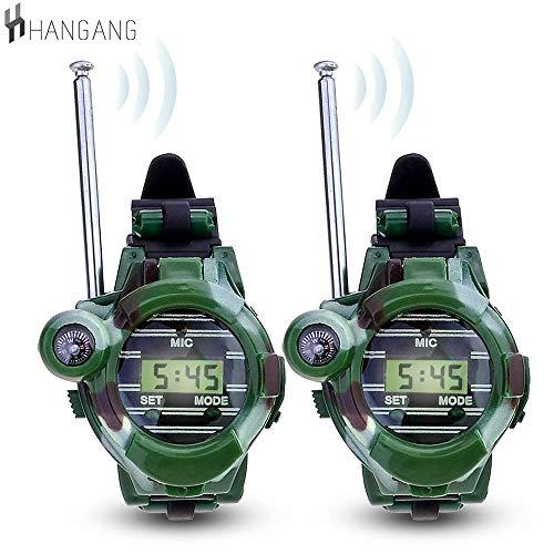 Kinder Walkie Talkies Uhr Walky Talky Set Camo Outdoor Armee Spielzeug 150 Meter Long Range Two Way Radios für Kinder Geschenke Camouflage Watch 7 in 1 (2 PACK)