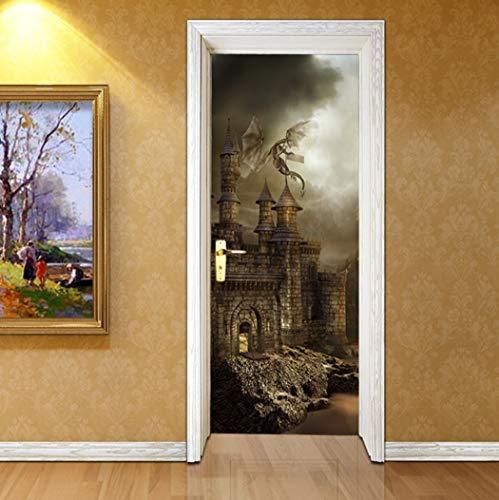 3D-Selbstklebende Tür Aufkleber Alte Burg Schlafsaal PVC Poster DIY Home Dekoration Abnehmbare Wasserdichte Kunst Tapeten Von Qt XINGMU -