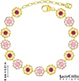 Lucia Costin Flower Bracelet Made of 24K Yellow and Pink Gold Plated over .925 Sterling Silver with Light Pink and Fuchsia Swarovski Crystals, Crafted with Cute Flowers and Dots