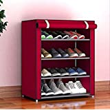 Xomox Multipurpose Portable Folding Shoes Rack 4 Tiers Multi-Purpose Shoe Storage Organizer Cabinet Tower with Iron and…