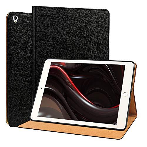 OUVOUV Echt Leder Hülle für iPad Air 3 2019 10.5 Zoll/iPad Pro 10.5 2017 mit Auto Schlaf/Wach Funktion Rindsleder-Case Schutzhülle Smart Cover für iPad 10.5 2019/2017,Schwarz