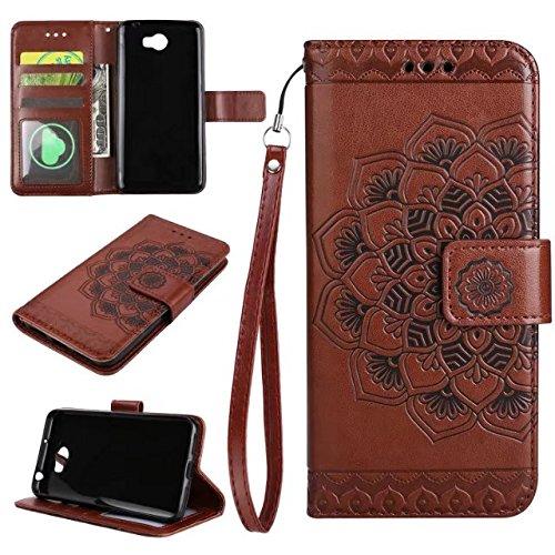 YHUISEN Huawei Y5 II/Y6 II Compact Caso, Diseño de media flor en relieve [correa de muñeca] Premium PU cuero cartera bolsa Flip Stand caso para Huawei Y5II/Y5 2/Y6II Compact ( Color : Brown )