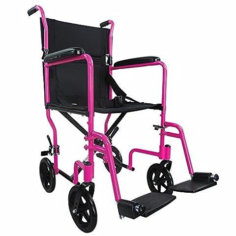 Ability Superstore Compact léger en aluminium pour fauteuil roulant de transport, Rose