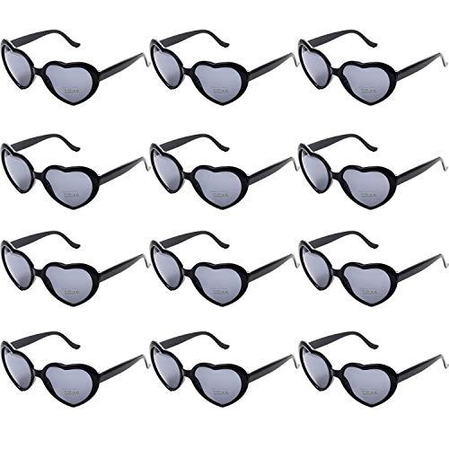 OAONNEA 12 stück Neon Farben Party Sonnenbrillen Set für Kinder Erwachsene Partybrille Herzform Party Favors und Festival (12schwarz)