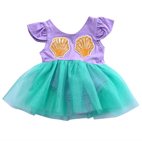 Verkleiden Kostüm Meerjungfrau Kleine - Prinzessin kleine Meerjungfrau Strampler Outfit Baby Mädchen Kleinkinder Bodysuit putzt Kostüm Kostüm Foto schießen Kleidung (Lila, 80CM)