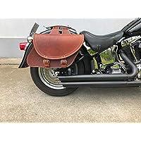 Zeus Brown Seitentasche von Orletanos bikertaschen Chopper Custom Fatboy Heritage Starrahmen Rahmentasche Rahmen HD Harley Davidson Wildstar Dragstar braun