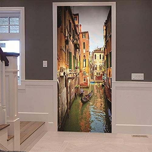 3D Innentür Aufkleber Wandbild Wasser Stadt Venedig (77X200Cm) Kunst Abziehbilder Wasserdicht Vinyl Diy Home Decor Tapete Für Wohnzimmer Schlafzimmer Küche Badezimmer Dekoration (Party-stadt Star Wars)