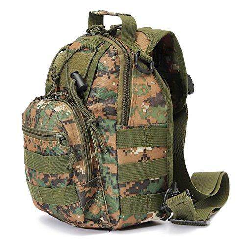 Tactical Sling Bag Croce Corpo petto pack tracolla zaino militare EDC Molle pesca con la mosca confezioni per iPad Nylon da campeggio trekking viaggio Zaino, Khaki Forest Digital Camouflage