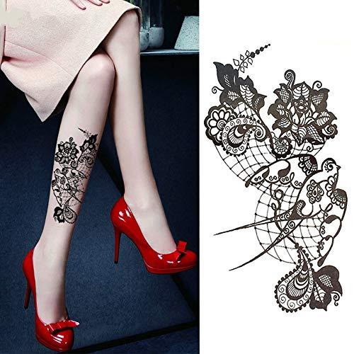 Tzxdbh 5pcs 1pc pizzo hot black sea swallow flower henné temporary tattoo nero mehndi style tattoo sticker impermeabile