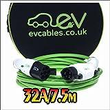 EV Cables CHC008(7.5M)T Prima Cable de Carga con Bolsa de Transporte, 32 A, 7.5 m, Tipo 1 J1772 a Tipo 2 para Vehículos Eléctricos