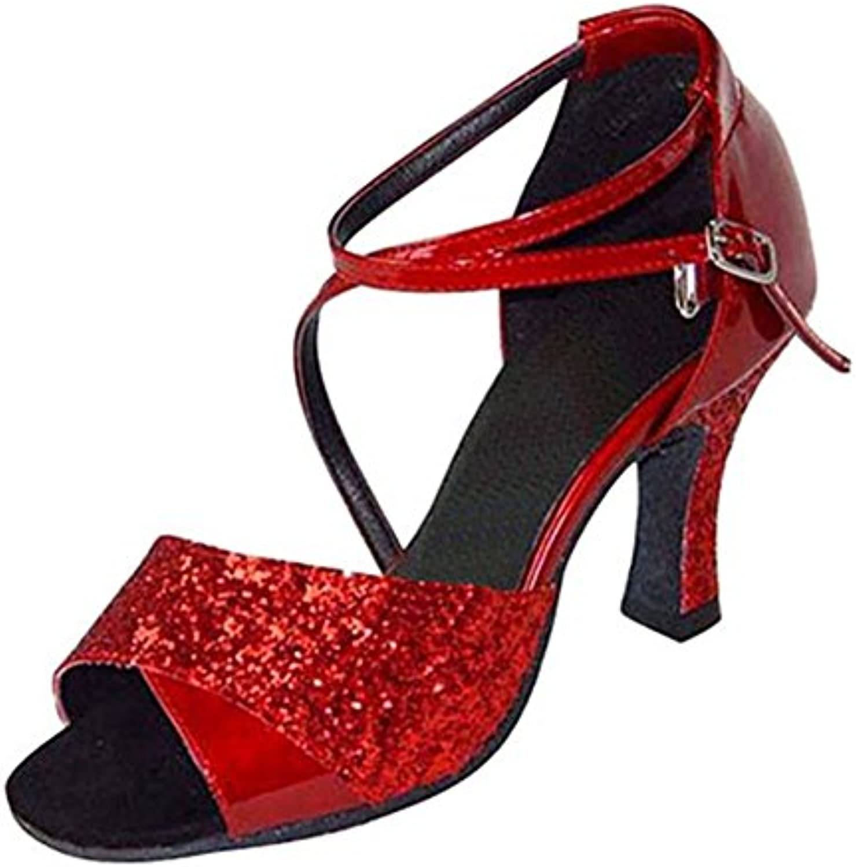 GUOSHIJITUAN Frauen Pailletten Latein TanzschuheLeise Unten High Heel Salsa Soziale Tanzschuhe Indoor Sandale