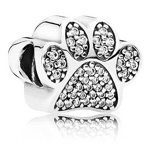 Ciondolo a forma di zampa di cane in argento, con cristalli sintetici
