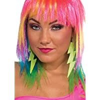 Club Candy Neon Lightning Bolt Costume Earrings: Green One Size