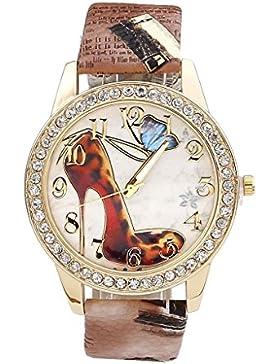 JSDDE Uhren,Oktoberfest Vintage Damen Strass Armbanduhr Falter Schuhe mit hohem Absatz Muster Analog Quarzuhr,...