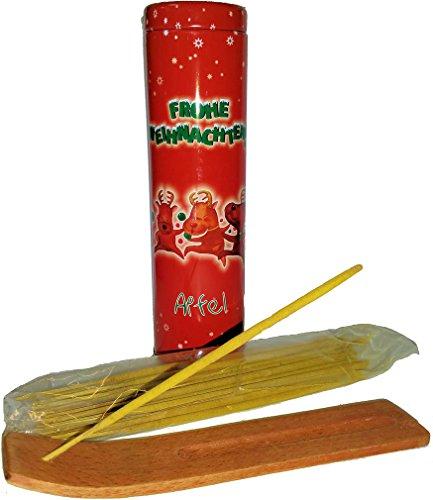 30 planches de parfum Bâtonnets d'encens & 1 cendres Frivolité en bois, parfum : pomme, rouge Noël décorée Boîte en tôle Noël