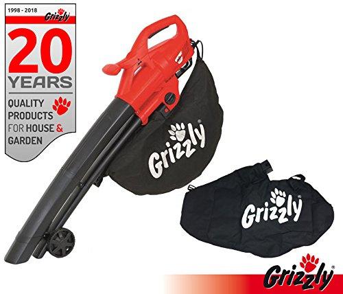 Grizzly Elektro 3in1 Laubsauger Laubbläser Häcksler EL 2800 Blasgeschwindigkeit 270 km/h 2800 Watt große Räder mit Fangsack und Tragegurt inklusive Ersatzfangsack