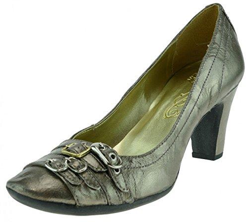Bronx Pumps High Heel Leder Platin, Groesse:38.0 (Bronx Leder Heels High)