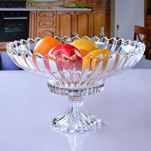 gfjfd Glas Obstteller High-End-Obstteller Im Europäischen Stil Salatteller Bleifreier Snack-Teller Aus Glas Süßigkeiten Teller EIN Obstteller