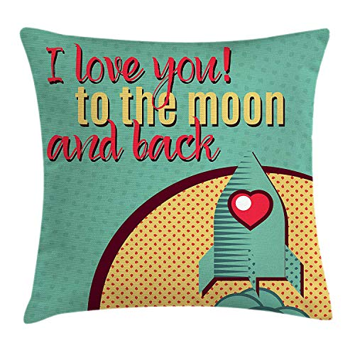 I Love You Throw Pillow Cushion Cover, Rocket Flying to The Space with Love Fuel Cosmic Journey...