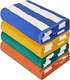 Utopia Towels - 4 Telo mare, motivo a righe - 100% cotone (76 x 152 cm, Varieta)