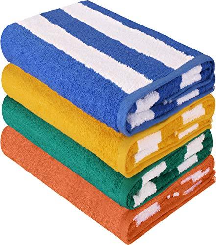 Utopia Towels - 4er Pack XXL Strandtuch Baumwolle Cabana Stripe - 76 x 152 cm, Varietät Pack