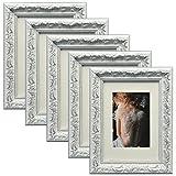 WOLTU 5er Set Bilderrahmen Foto Collage, Holz Rahmen, 13x18 cm, Pappe Rückseite, Glas Vorderseite, Zum Aufstellen und Aufhängen, Barock Design, Weiß, BR9758-5