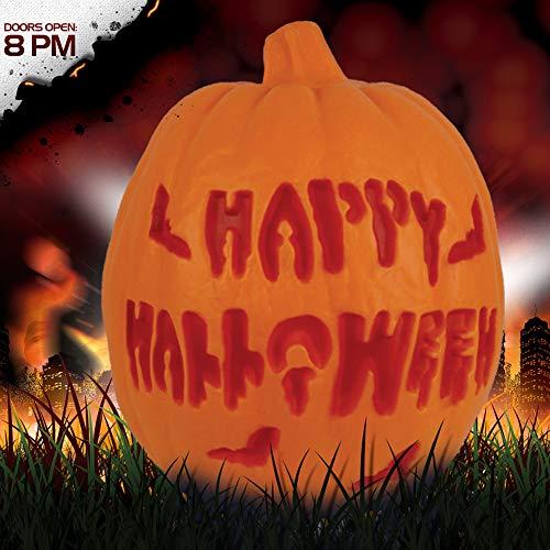 Beschriften des glühenden Horrorkürbiseimers, hohle Kürbislaterne Halloweens,