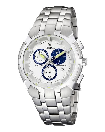 FESTINA F6812/1 – Reloj de caballero de cuarzo, correa de acero inoxidable color plata