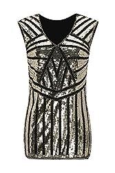 Metme Vintage 1920s V Neck Slight Loose Flashybeaded Sequin Vest Tops Tank Tops For Women