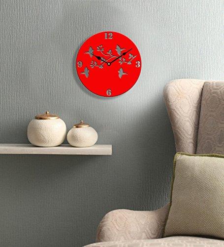 Sehaz Artworks 4 Birds Round Wooden Wall Clock (25.5 cm...