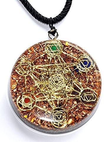 Métatron de cube Merkaba 7chakras W/cristaux pierres Orgonite Pendentif Générateur d'énergie Accumulateur EMF Protection 5,7cm