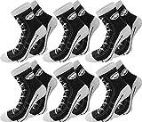 normani 6 Paar Baumwoll Socken im Schuh - Design Farbe Schwarz Größe 39/42