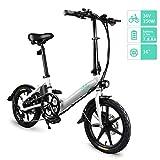 Fiido D3 Ebike, Bici elettrica Pieghevole con Faro LED per Adulti, Biciclette elettriche Anteriori e Posteriori a Disco da 250 W 5.2Ah/7.8Ah (Bianco, 7.8Ah)