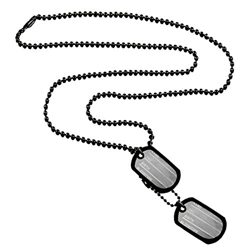 Menjewell New Collection Black Army Style 2pcs Name Dog Tags Pendant For Men & Boys  available at amazon for Rs.249