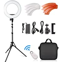 FOSITAN 14-inch Outer/10-inch Inner Ring Light Kit, 42W 5500K 180 LED Dimmable Camera Photo Video Lighting kit, 2M Adjustable Light Stand, Bluetooth Receiver for Smartphone Youtube Video Shooting