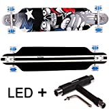 FunTomia® Longboard Skateboard Drop Through Cruiser Komplettboard mit Mach1® ABEC-11 High Speed Kugellager T-Tool (Modell Freerider - Farbe Amerika mit LED Rollen + T-Tool)
