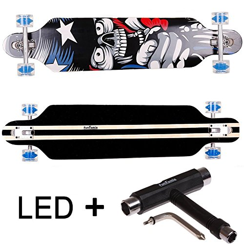 FunTomia® Longboard Skateboard Drop Through Cruiser Komplettboard mit Mach1® ABEC-11 High Speed Kugellager T-Tool (Modell Freerider - Farbe Amerika mit LED Rollen + T-Tool) - Bambus-longboard Skateboard