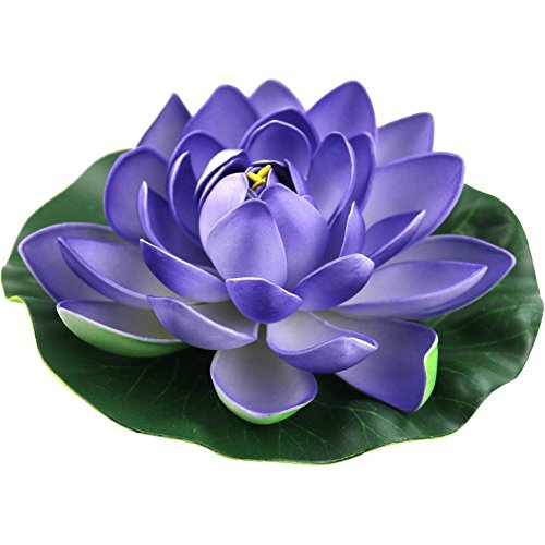 Jarown 4 pièces en mousse Fleur de Lotus Artificielle Nénuphar flottant Fleurs Faux Feuilles plantes pour bassin d'aquarium Décor, PU, violet, 18 cm