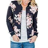 Longra Mode Damen Jacken Blumendruck Bomberjacke Bikerjacke Reißverschluss Fliegerjacke Damen Übergangsjacke Windbreaker Kapuzenjacke Frauen Sweatshirt Pullover Baseball Mantel Outwear (s, Schwarz)