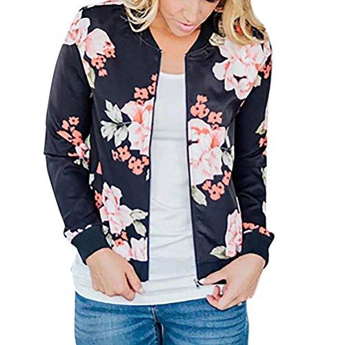 Longra Mode Damen Jacken Blumendruck Bomberjacke Bikerjacke Reißverschluss Fliegerjacke Damen Übergangsjacke Windbreaker Kapuzenjacke...