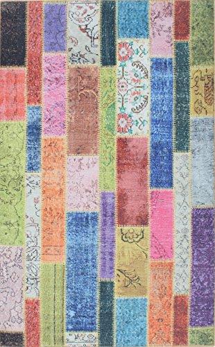 TapisHome Moderner Designer Teppich/Patchwork/bunt/rosa/blau 120 cm x 180 cm